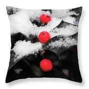 Berries In Snow Throw Pillow