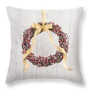 Berry Decorated Wreath Throw Pillow