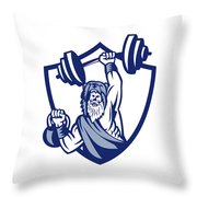 Berserker Lifting Barbell Kettlebell Crest Retro Throw Pillow
