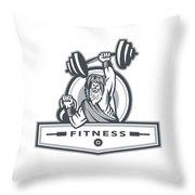 Berserker Lifting Barbell Kettlebell Fitness Circle Retro Throw Pillow