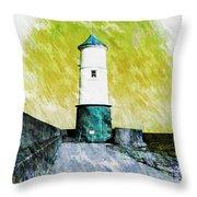 Berwick Lighthouse As Graphic Art. Throw Pillow