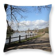 Beside The Thames At Hampton Court London Uk Throw Pillow