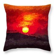 Beskidy Sunset Throw Pillow