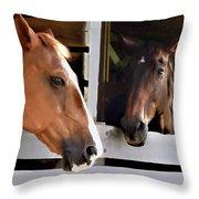 Best Friends Horse Chat Throw Pillow