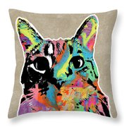 Best Listener Kitty- Pop Art By Linda Woods Throw Pillow