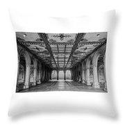 Bethesda Terrace Arcade 3 - Bw Throw Pillow