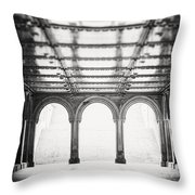 Bethesda Terrace In Black And White Throw Pillow