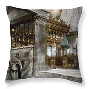 Bethlehem - Inside Nativity Church 1890 Throw Pillow