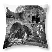 Bethlehem - Nativity Scene Year 1900 Throw Pillow