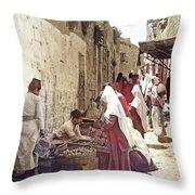 Bethlehem Market 1900 Throw Pillow