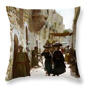 Bethlehem Merchant Street Throw Pillow