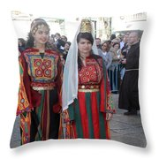 Bethlehemites In Traditional Dress Throw Pillow
