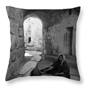 Bethlehemites Making Bread Throw Pillow