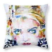 Bette Davis - Watercolor Portrait Throw Pillow