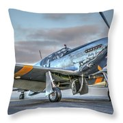 Betty Jane P51d Mustang At Livermore Throw Pillow