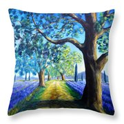 Between The Lavender Fields Throw Pillow