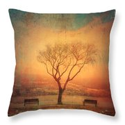 Between Two Benches Throw Pillow