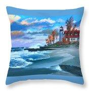 Betzie Lighthouse Throw Pillow