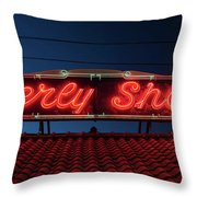 Beverly Shores Indiana Depot Neon Sign Panorama Throw Pillow