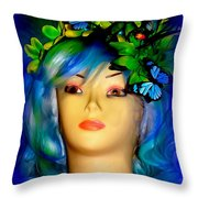 Beverlys Blue Butterflys Throw Pillow