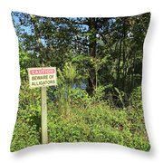 Beware Of Gator Throw Pillow