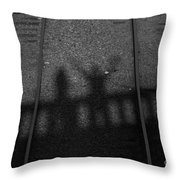 Beware Of The Shadows Black And White Throw Pillow