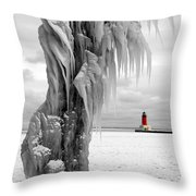 Beyond The Ice Reaper's Grasp -  Menominee North Pier Lighthouse Throw Pillow