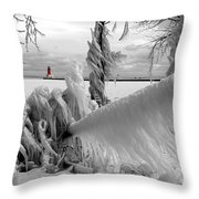 Beyond The Icy Gate - Menominee North Pier Lighthouse Throw Pillow