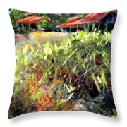 Beyond The Red Flowers Throw Pillow