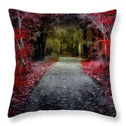 Beyond The Red Leaves Throw Pillow