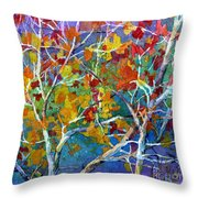 Beyond The Woods - Orange Throw Pillow