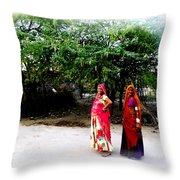 Bff Best Friends Pregnant Women Portrait Village Indian Rajasthani 1 Throw Pillow