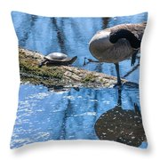 Bff Turtle And Canda Goose Throw Pillow
