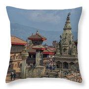 Bhaktapur Durbar Square In Kathmandu Valley, Nepal Throw Pillow