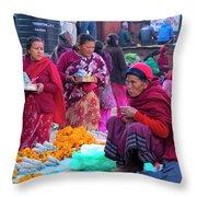 Bhaktapur Holi Market Throw Pillow