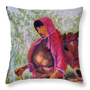 Bhutan Series - Woman With The Horse Throw Pillow
