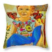 Bianka And Butterflies Throw Pillow