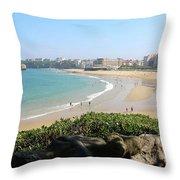 Biarritz Beach Panorama Throw Pillow