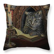 Bibliocat Reads To His Friends Throw Pillow