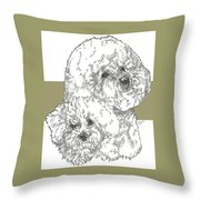 Bichon Frise And Pup Throw Pillow