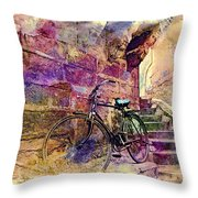 Bicycle Abandoned In India Rajasthan Blue City 1a Throw Pillow