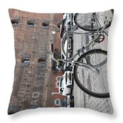 Bicycle And Building Throw Pillow