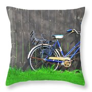 Bicycle And Gray Fence Throw Pillow