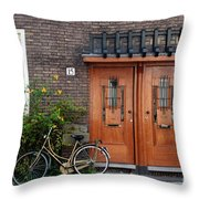 Bicycle And Wooden Door Throw Pillow