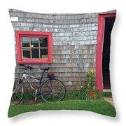 Bicycle At Barn Throw Pillow