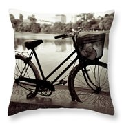 Bicycle By The Lake Throw Pillow