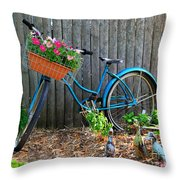 Bicycle Garden Throw Pillow