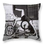 Bicycle Gymnastics 4 Throw Pillow
