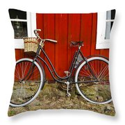 Bicycle In Front Of Red House In Sweden Throw Pillow