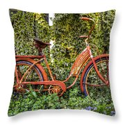 Bicycle In The Garden Throw Pillow